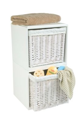 Modular White Wooden Framed Storage Cubes, Containing Removable  Calico Lined Wicker Baskets,