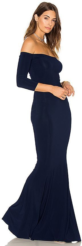 NORMA KAMALI Norma Kulture Off The Shoulder Fishtail Gown
