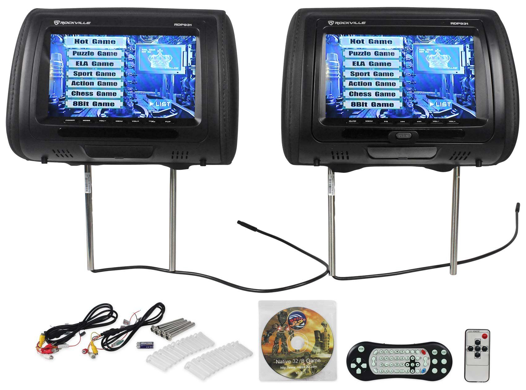 "Rockville Rdp931 Bk New 9"" Black Car Dvd Usb Hdmi Headrest Monitors  Schematic Wiring Diagram Rockville Monitor Wiring Diagram"