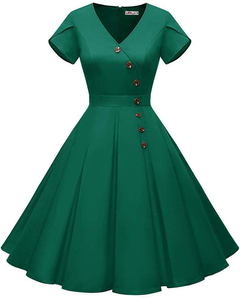 Alagirls Women S 1950s Vintage Cocktail Party Dress Rockabilly Swing Short Sleeve Dress Button Ala60002 Cocktail Dress Vintage Party Dress Classy Dress Outfits [ 1000 x 806 Pixel ]