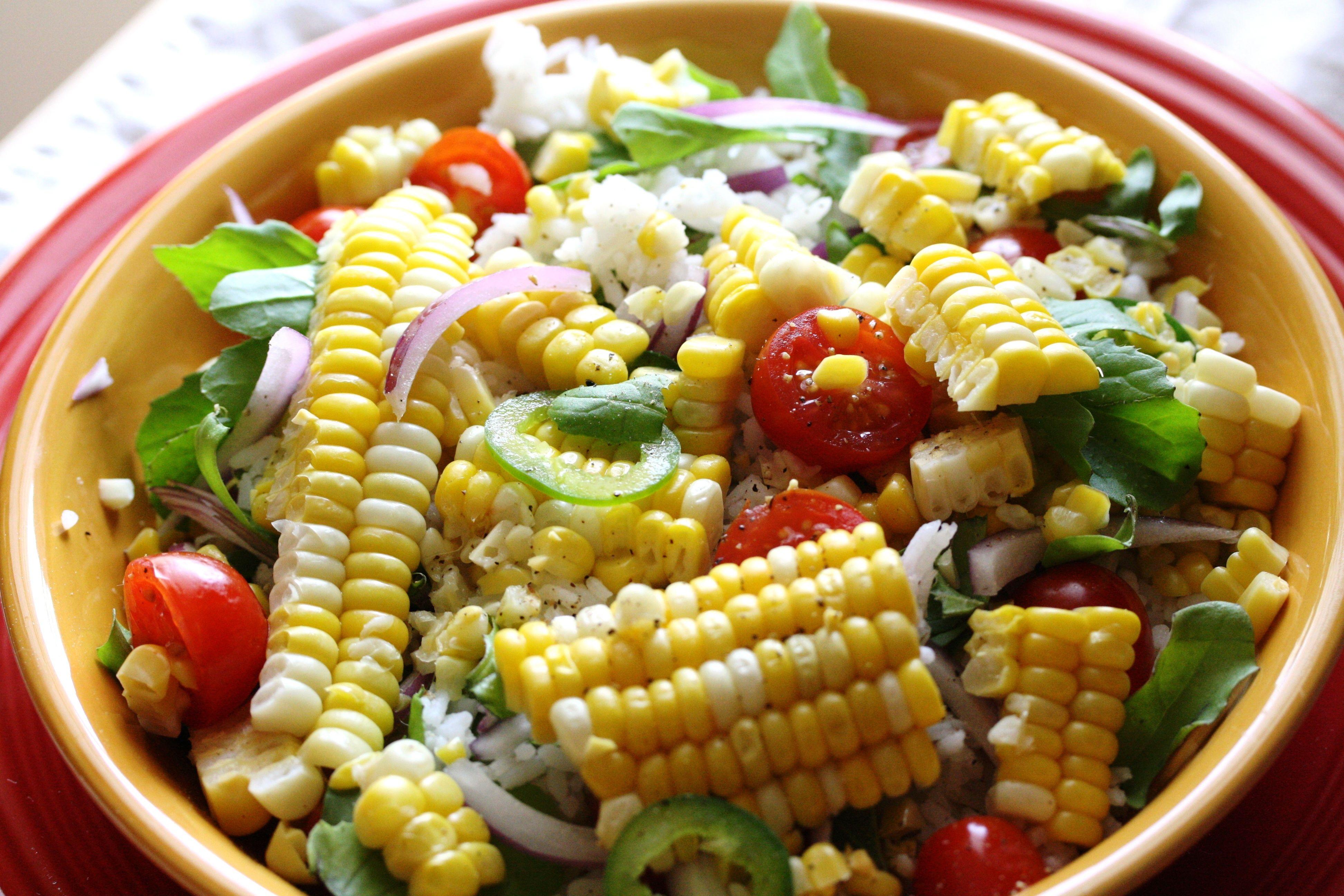 Fresh cornrice salad rice salad fresh corn salad