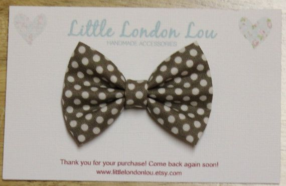 Baby, Toddler, Girl Fabric Bow Clip or Headband- Brown and White Polka Dots
