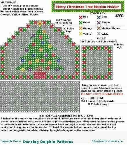 Christmas Tree Napkin Pattern: Plastic Canvas Coasters, Plastic