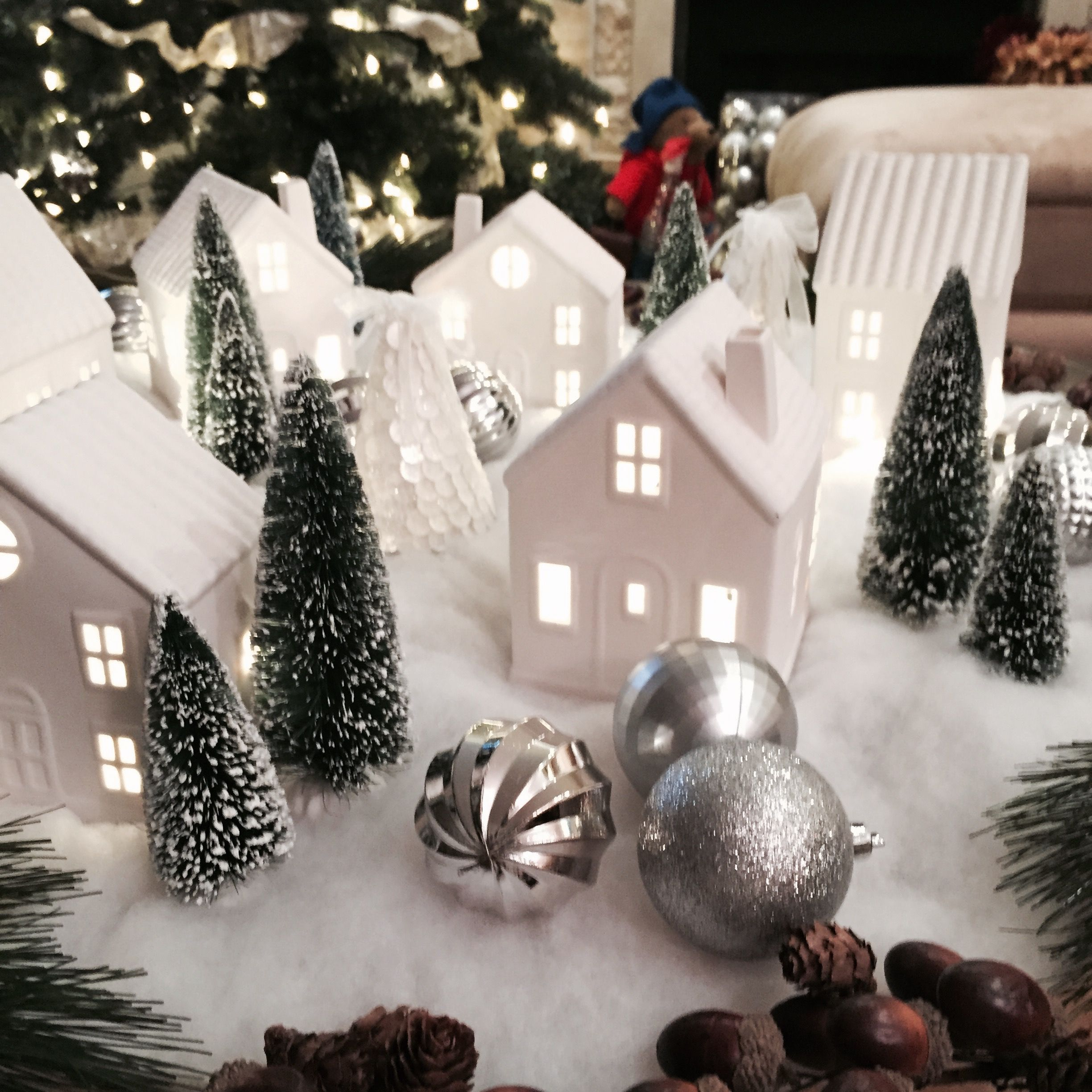 Target dollar spot houses 3, trees and ornament from