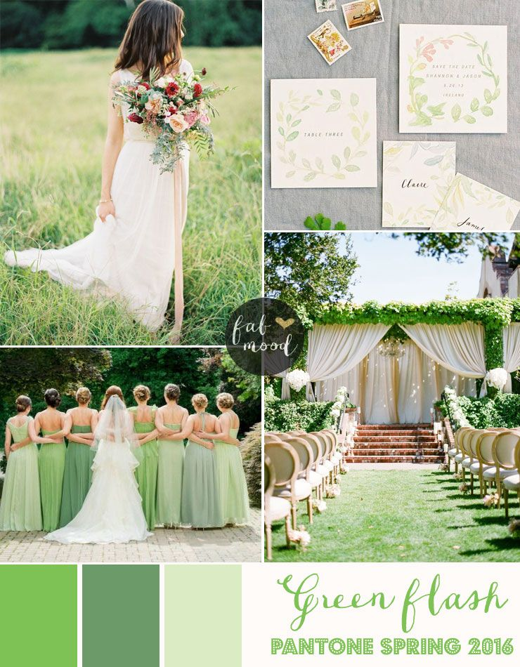 Soft green wedding - Green Flash Wedding Theme { Pantone Spring 2016 }