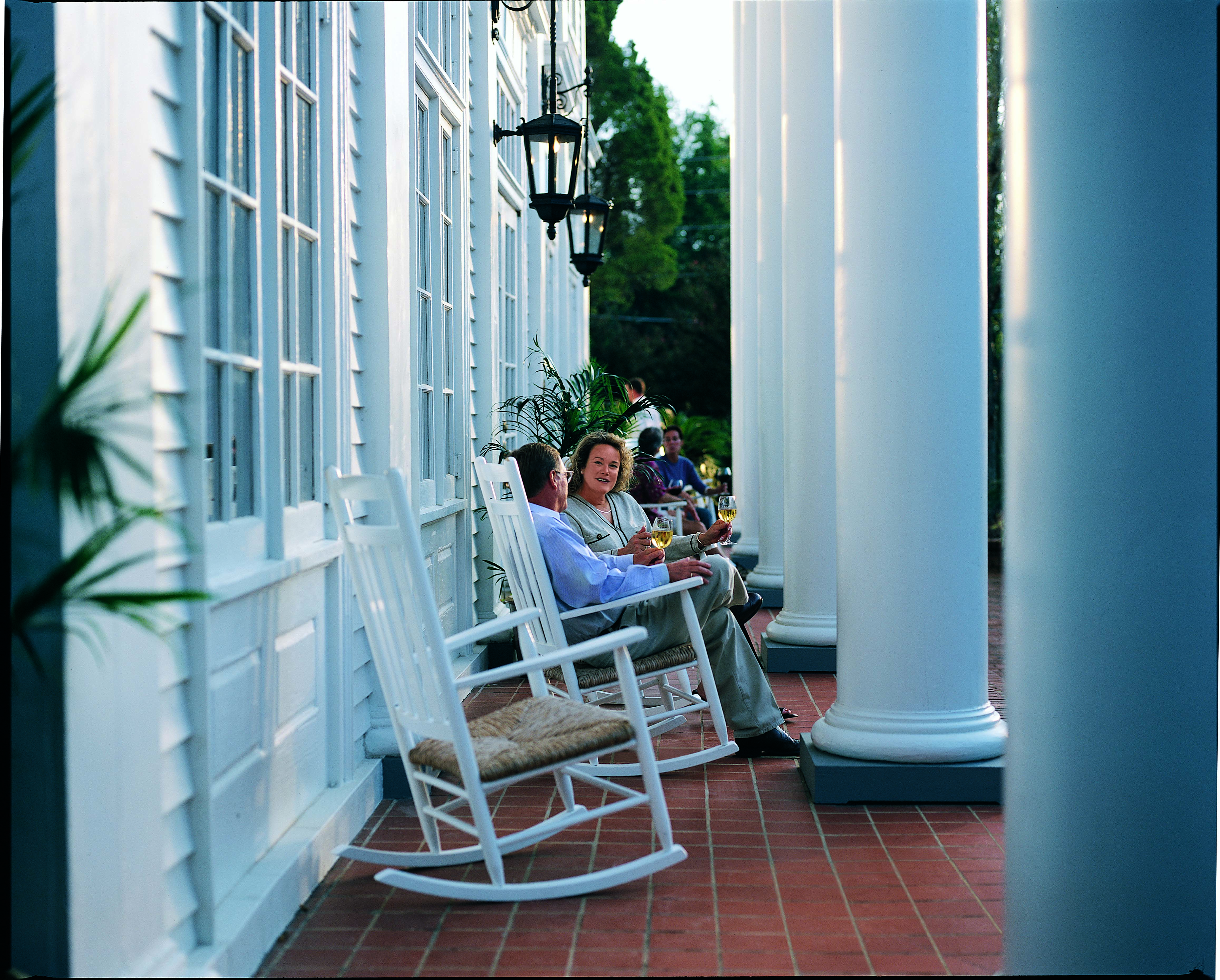 Rocking Chairs On The Front Porch Of The WIllcox Hotel In Aiken, SC