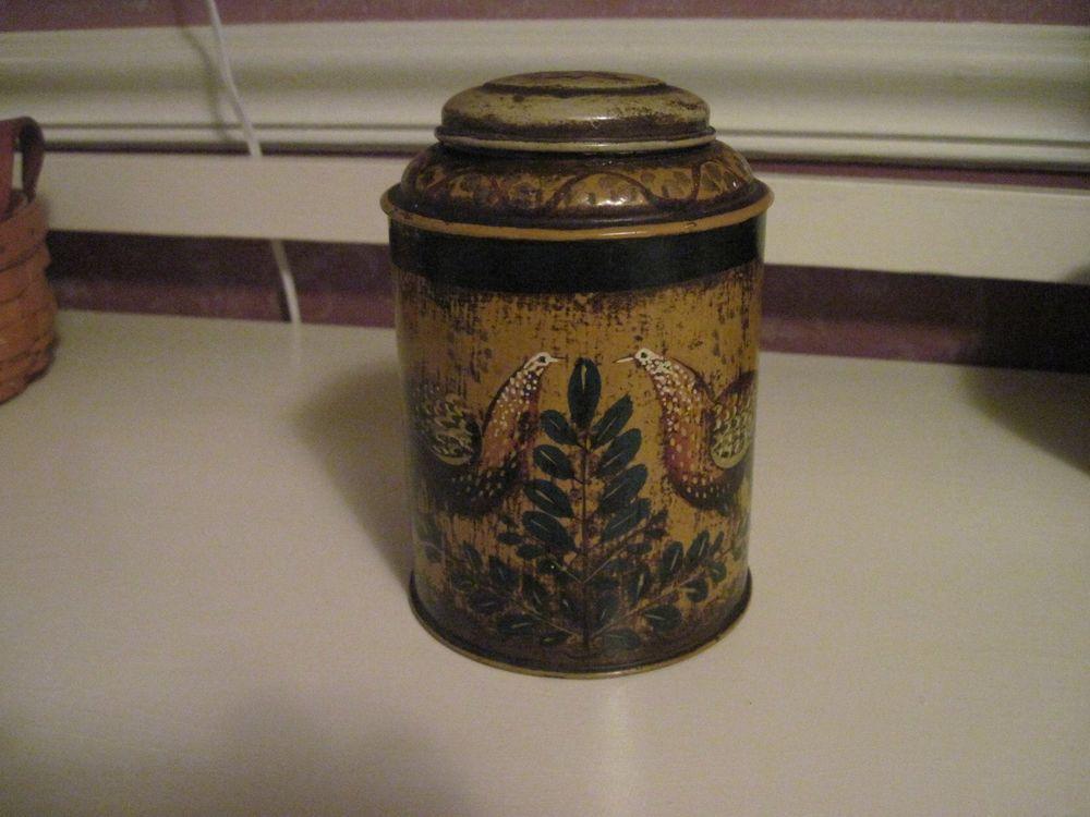 Peter Ompir Bird Toleware Tobacco Jar