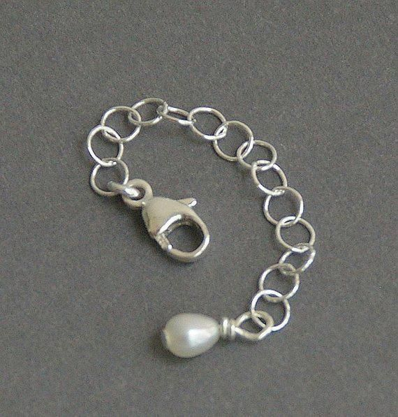 Jewelry Extender Solid 925 Sterling Silver Chain And Freshwater Pearl Charm Custom Length Goldwithsilverrings