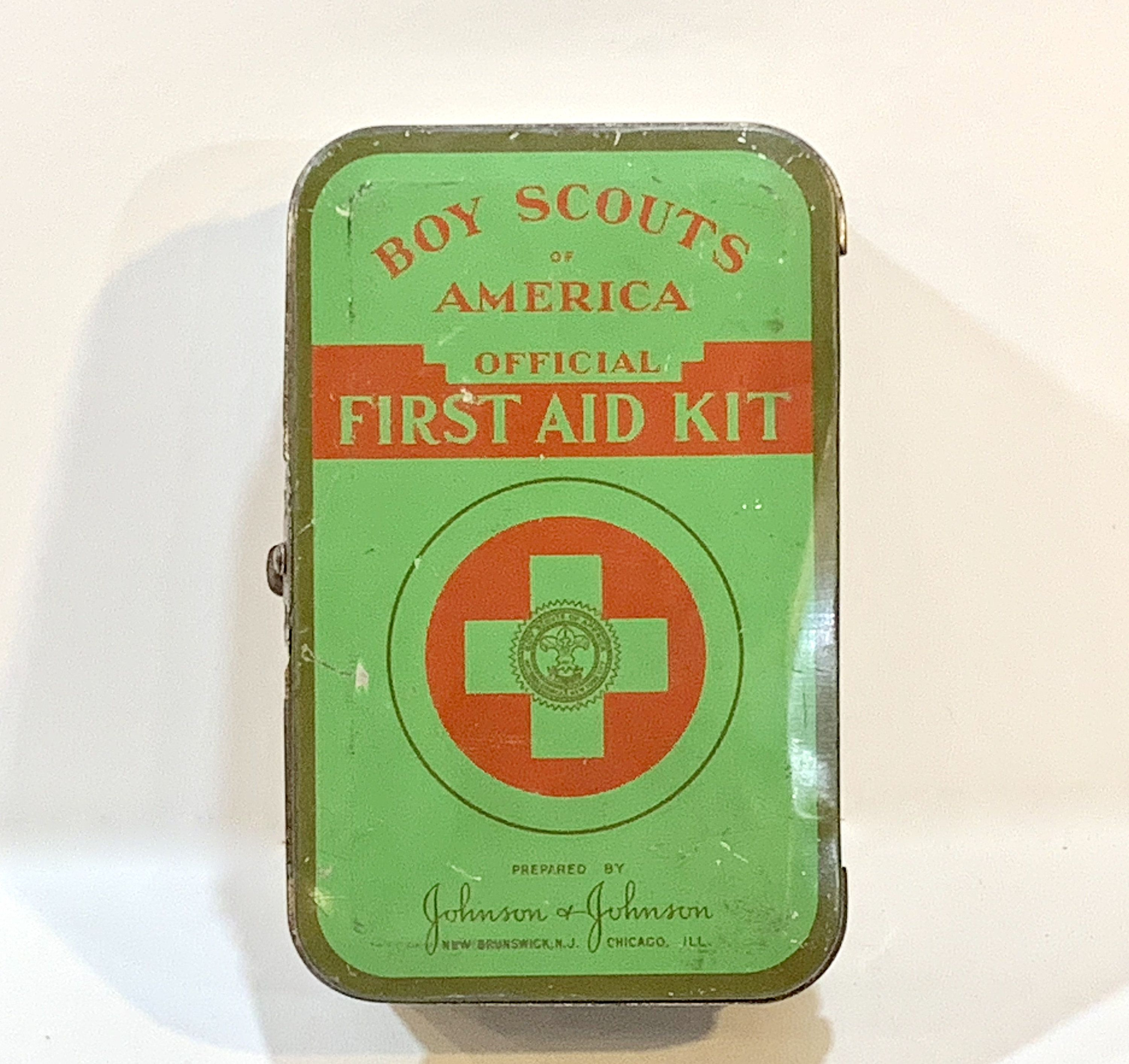 Vintage Boy Scouts of America, Official First Aid Kit, Johnson Johnson, Mid Century 1940s, Collectible Tin #firstaid