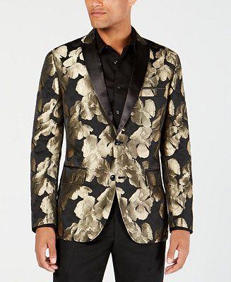 63604644c7e1 Shop INC International Concepts I.N.C. Men s Slim-Fit Gold Floral Blazer