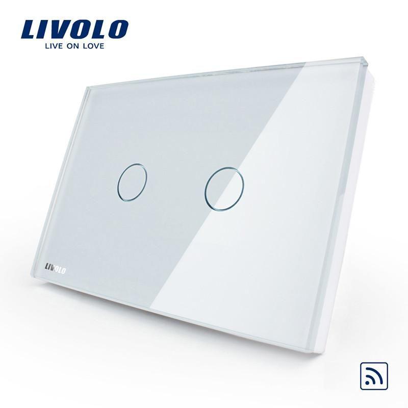 Us Au Standardlivolo White Crystal Glass Panel Remote Switch Ac 110 250v 50 60hz Wireless Remote Home Light S Interruptores De Luz Paineis De Vidro Interruptor