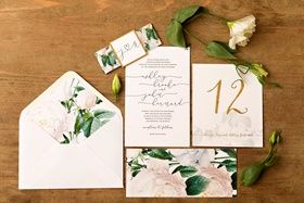 Floral Envelope Liner %26 Invitation    Photography: Kevin Weinstein Photography   Read More:  http://www.insideweddings.com/weddings/high-school-sweethearts-say-i-do-at-personalized-jewish-wedding/977/