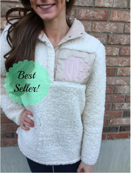 Monogrammed Sherpa Pullover // Monogram Sherpa Fuzzy Pullover ...