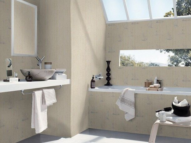 Vliestapete Badezimmer ~ Tapete weiß beige natur aqua relief rasch badezimmer