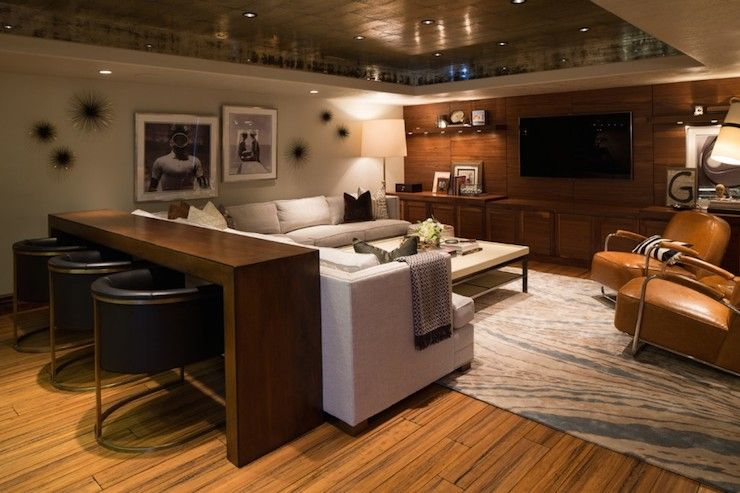 basement remodel | metallic bronze leafed tray ceiling | modern leather chair | ...