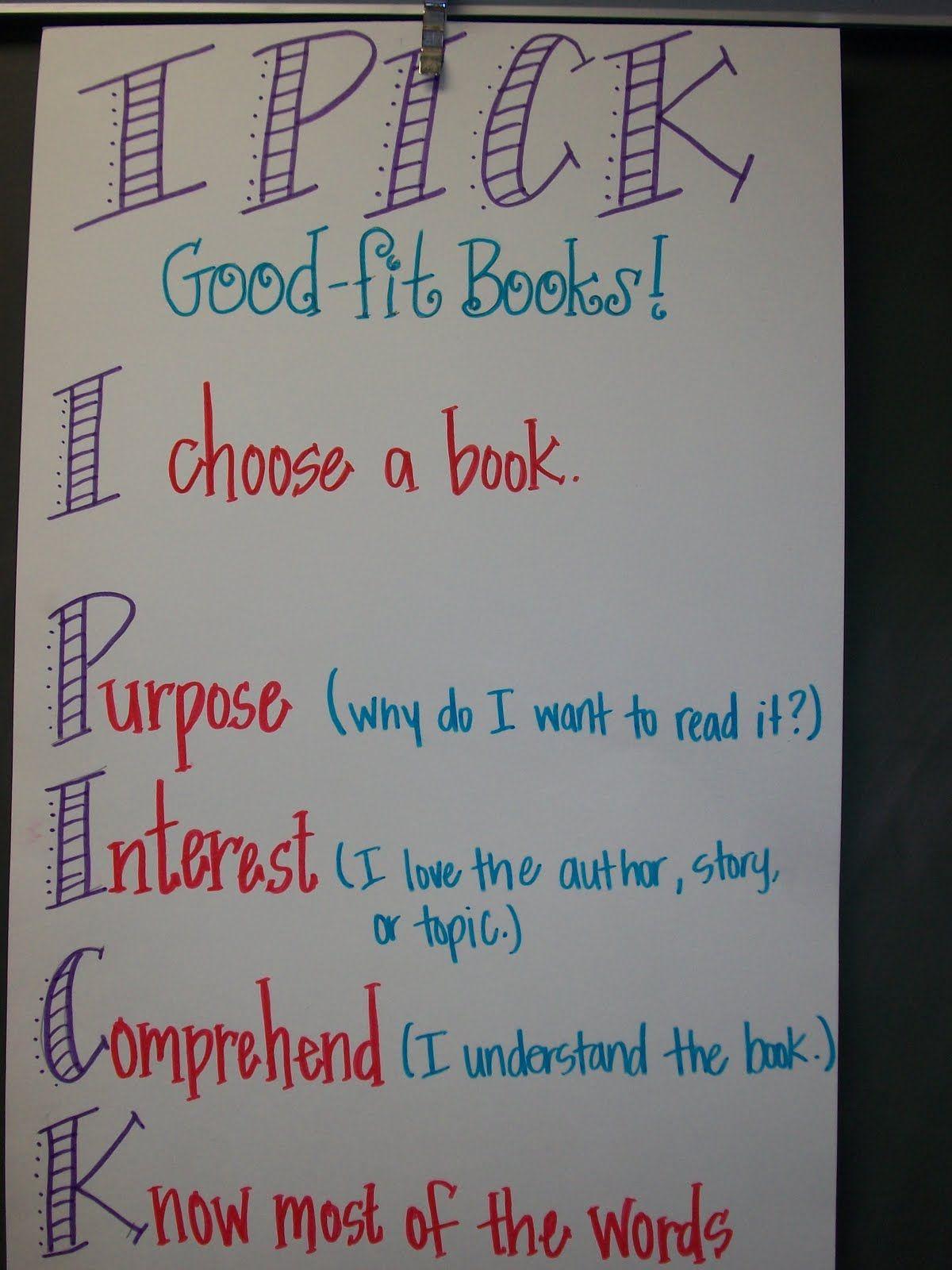 pick anchor for choosing  good fit book also classroom ideas rh pinterest