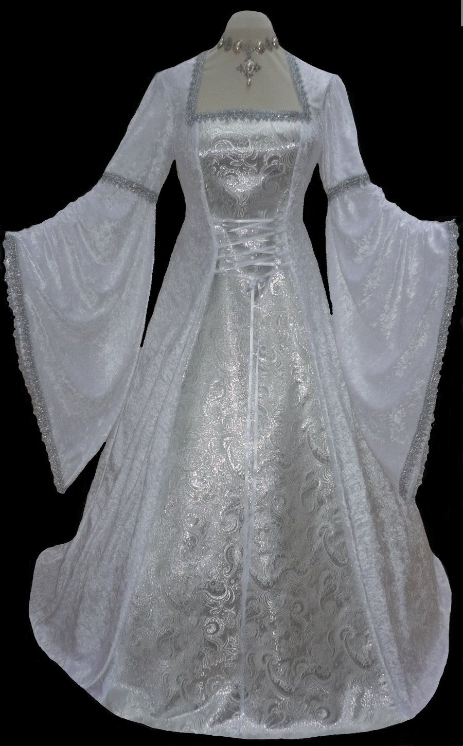 White and Silver Medieval Renaissance Pagan Wedding Dress, Dawns ...