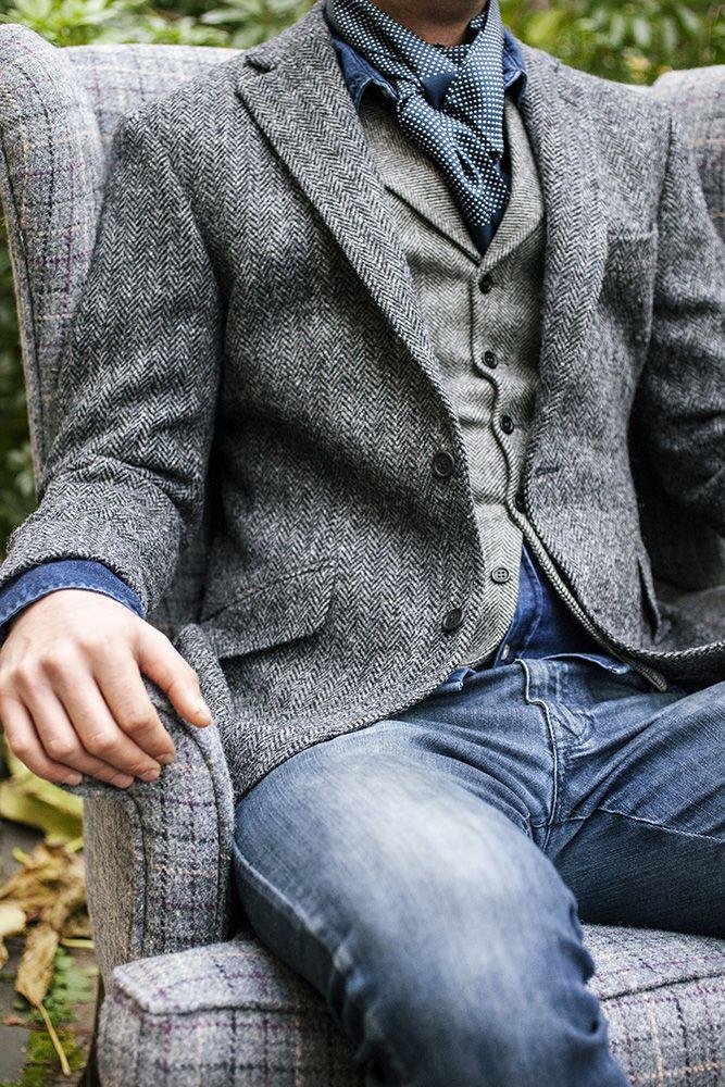 Walker Slater Details Gallery - WalkerSlater.com Harris Tweed Edward jacket  in charcoal herringbone, James waistcoat in grey wide herringbone tweed, ... 6fb88120fd