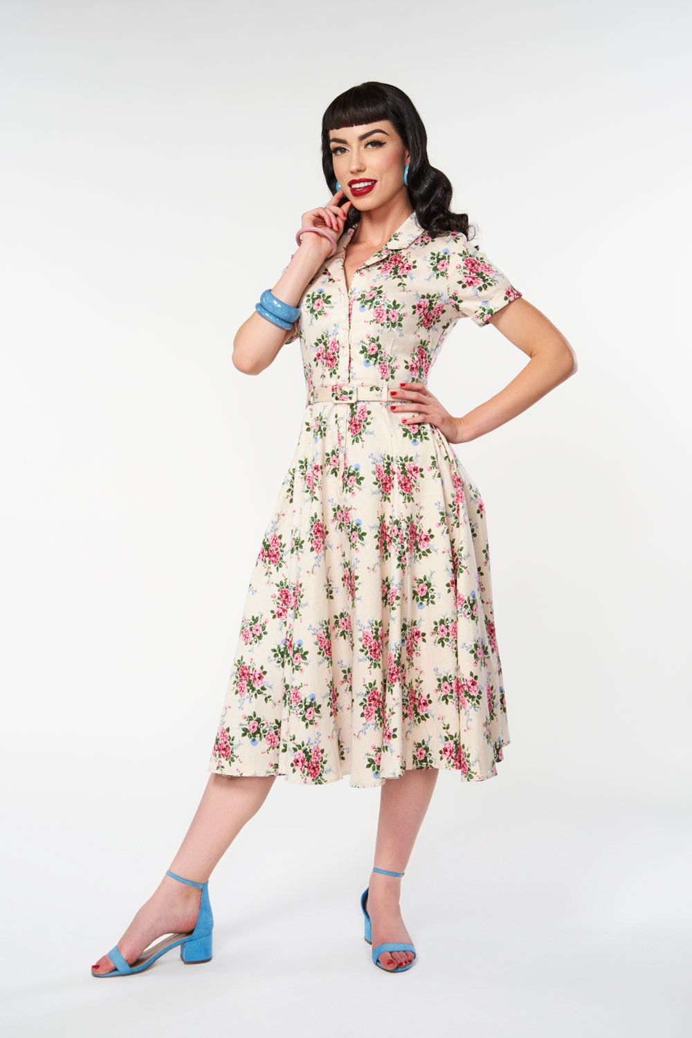 3892d180a583 Caterina 40's Floral Swing Dress by Collectif   Pinup Girl Clothing ...