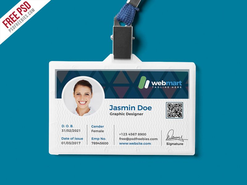 Office Id Card Design Psd Psdfreebies Com Id Card Template Card Design Identity Card Design
