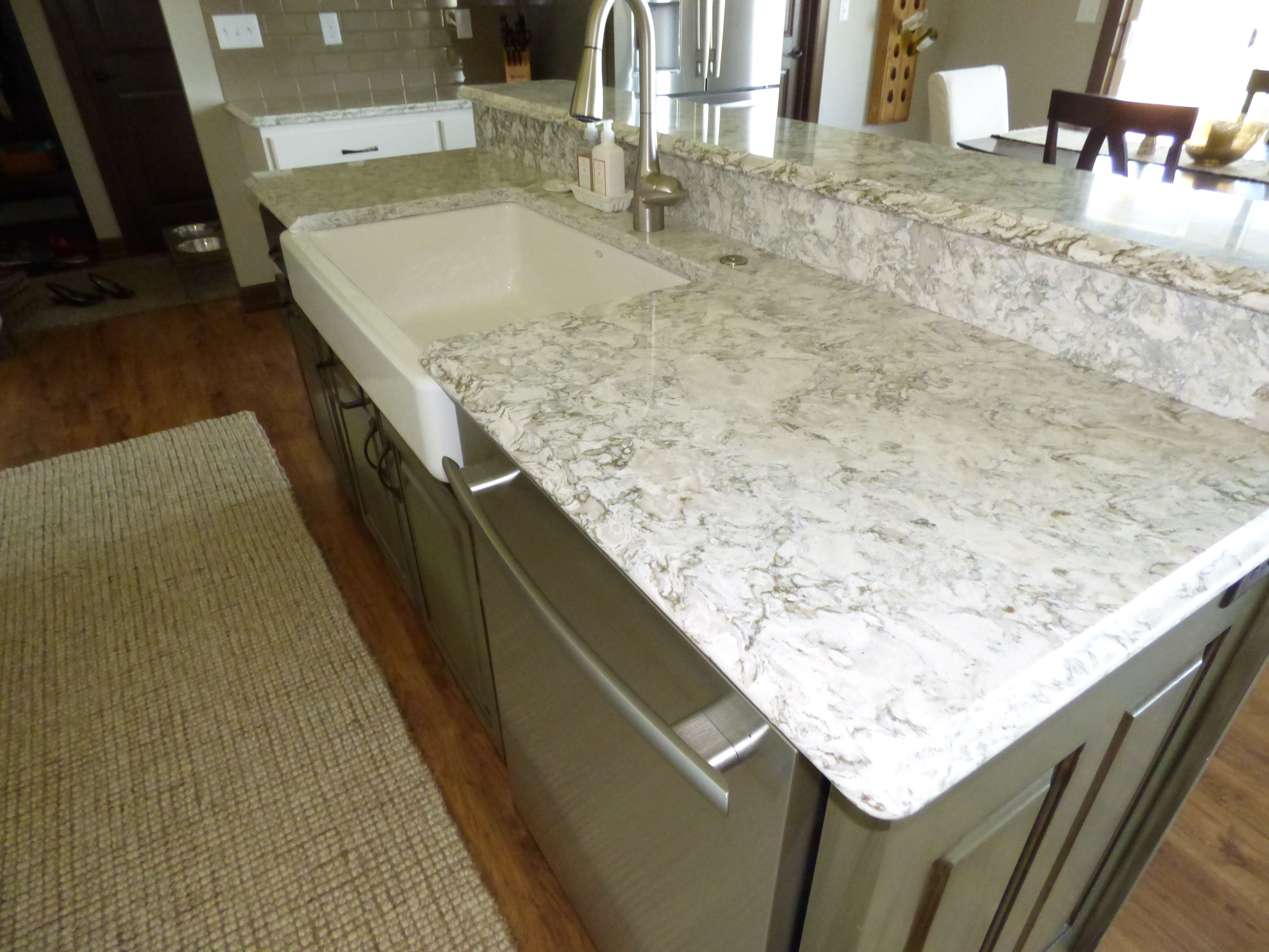 Kitchen with berwyn quartz cambria berwyn kitchen island for Quartz countertops or granite
