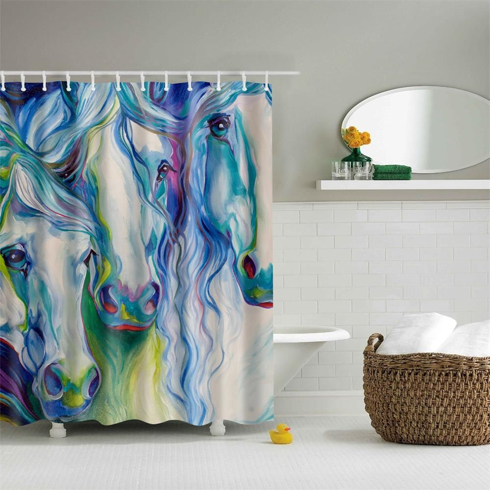 Horse Shower Curtain 1 Pc In 2020 Fabric Shower Curtains Modern