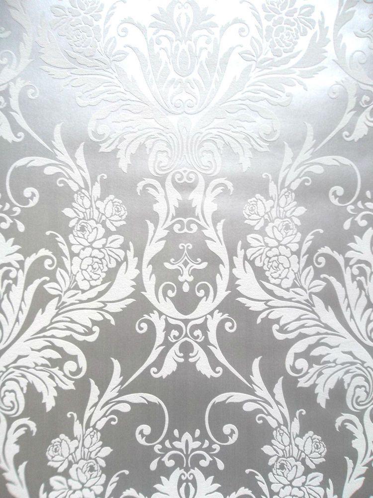 Medina White Silver Metallic Damask Feature Wallpaper By Debona 4001