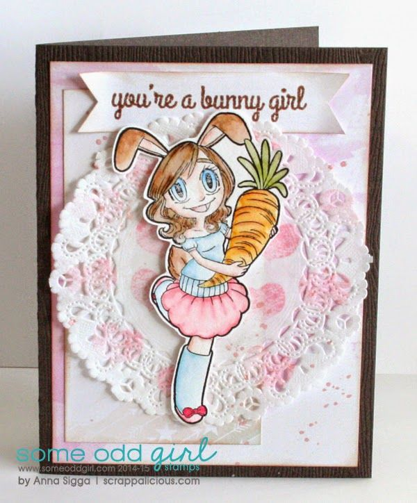 Card using the new clear stamps Bunny Girl Gwen from @Some Odd Girl