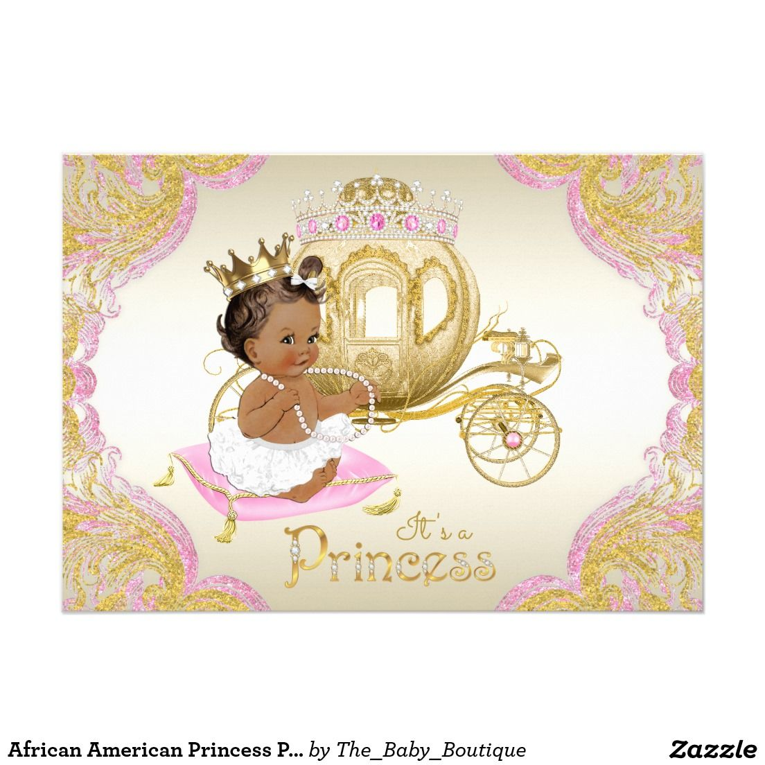african american princess pink gold baby shower card | princess, Baby shower invitations
