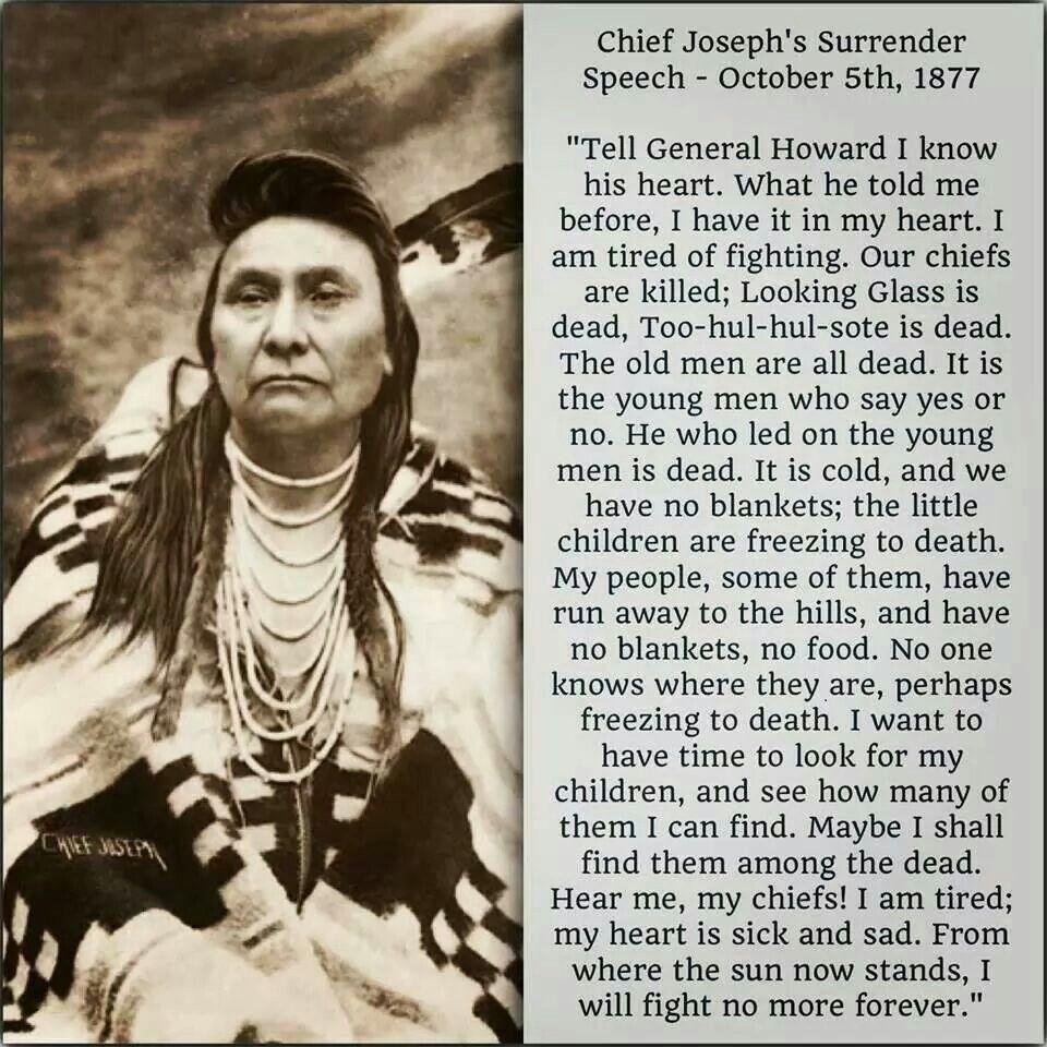 Native American Wedding Quotes: Chief Joseph's Last Speech