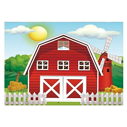 Funnytree 7x5ft Cartoon Red Farm Animals Party Backdrop Children Birthday Background for P