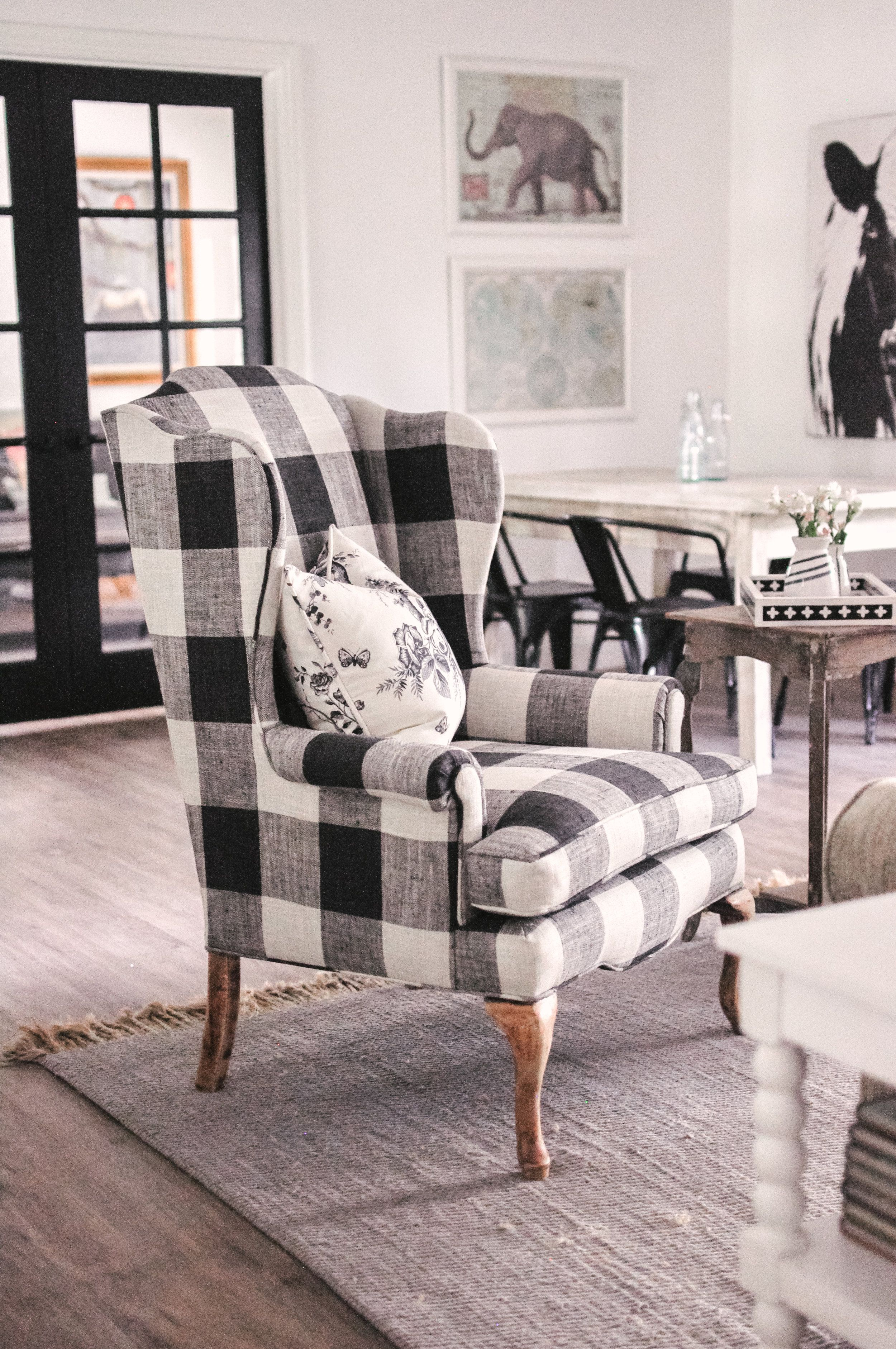 Magnificent Our Farmhouse Living Room Makeover Our Buffalo Check Chair Dailytribune Chair Design For Home Dailytribuneorg