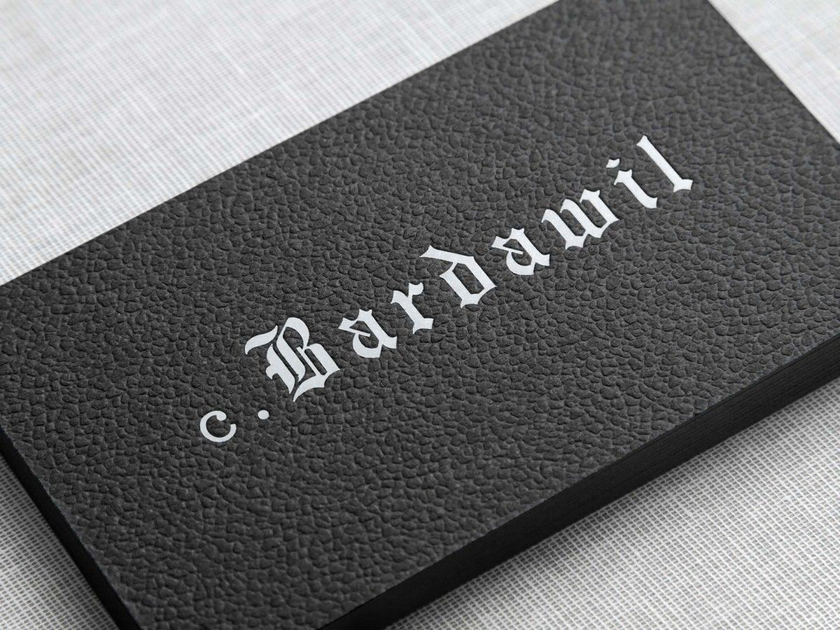 C. Bardwill business card design with white ink and surface emboss ...