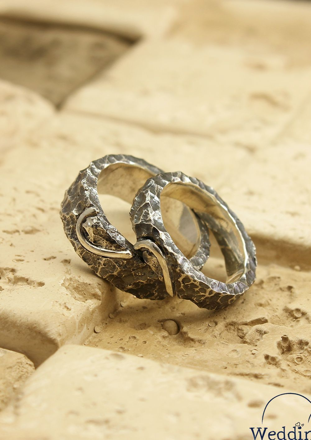 Wild heart wedding bands set, His and Her half heart rings