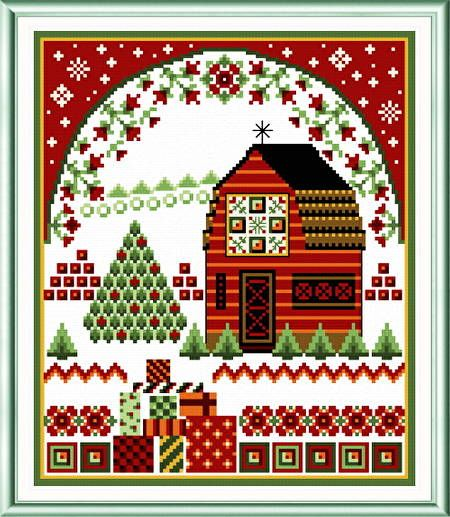 Holiday Barn with Quilts - cross stitch pattern designed by Ursula Michael. Category: Christmas.