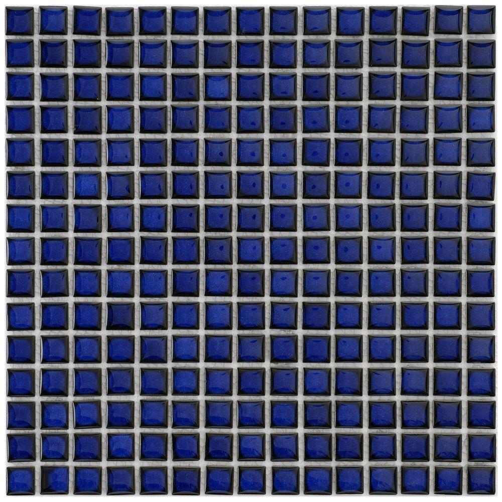 SomerTile 12.25x12.25-in Square 3/4-in Cobalt Porcelain Mosaic Tile ...