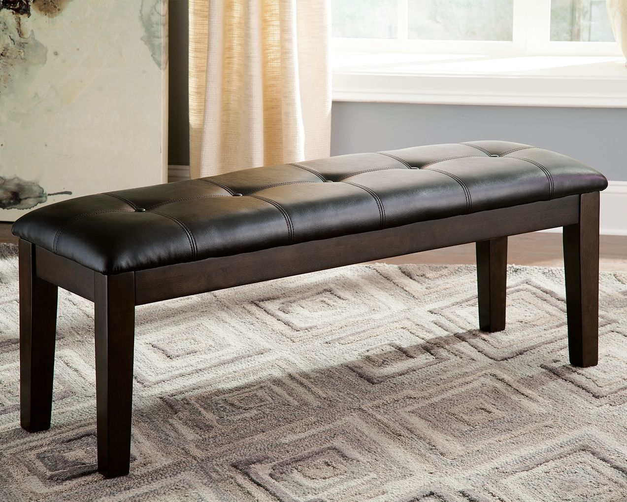 Haddigan Dining Room Bench Dark Brown Leather In 2020 Dining Room Bench Upholstered Dining Bench Dining Bench
