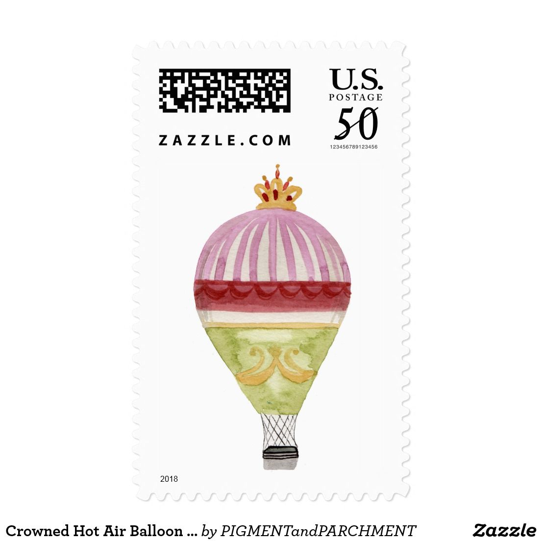 Crowned Hot Air Balloon Watercolor Stamps   Wedding postage stamps ...
