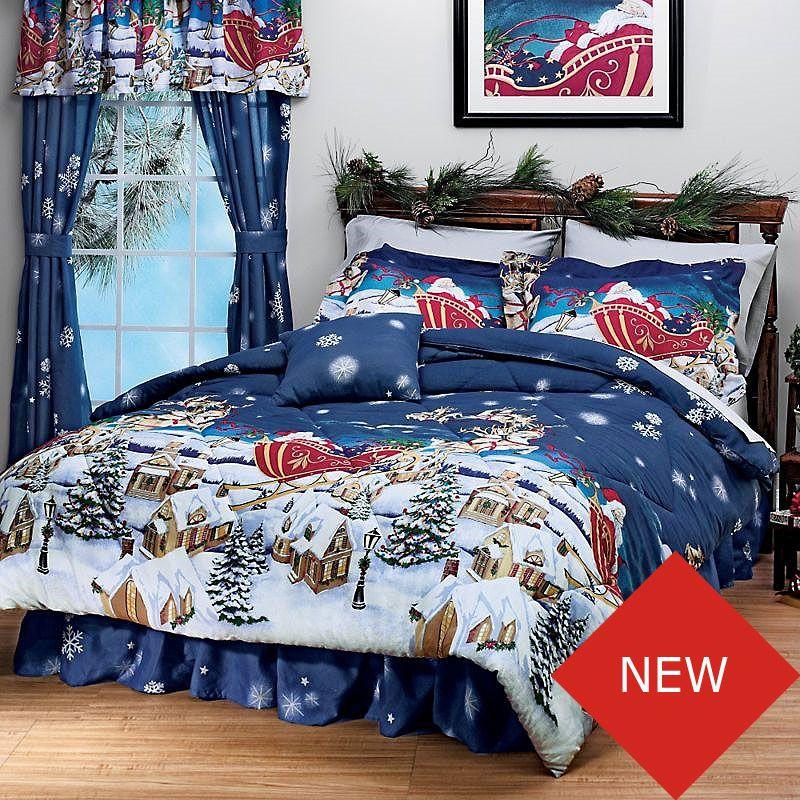 Christmas Santa Comforter Set Holiday Bedding Set Twin Bed