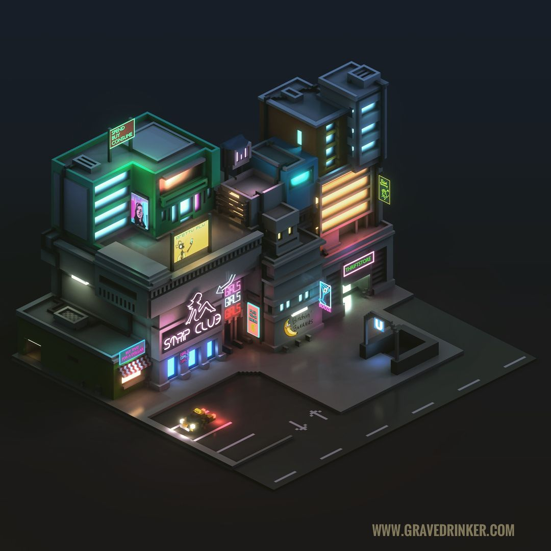 Cyberpunk Cityblock created in Magicavoxel and Blender