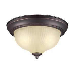 Hampton Bay 11 In 2 Light Oil Rubbed Bronze Flushmount With Frosted Swirl Gl Shade
