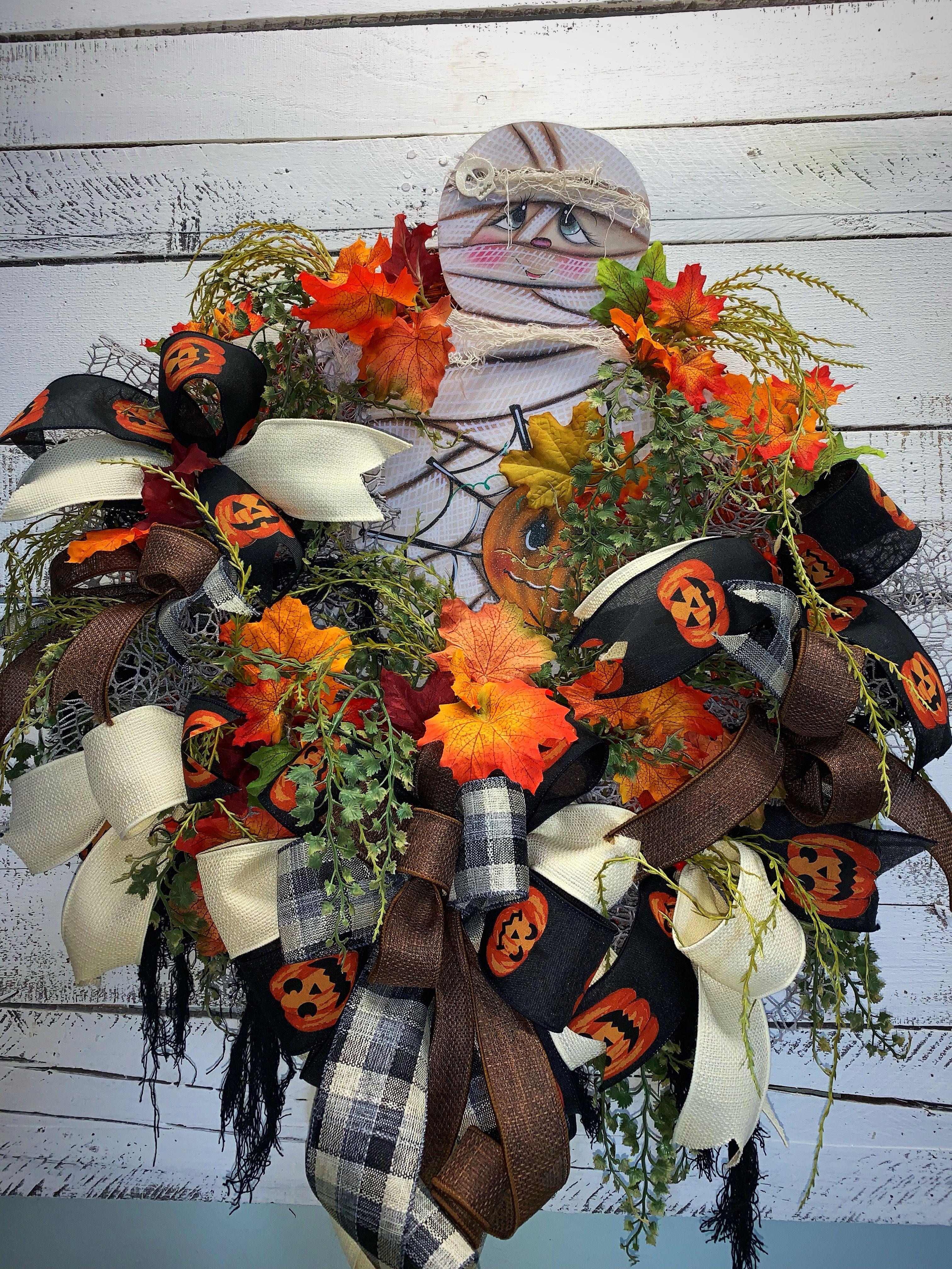 Halloween Wreath, Halloween Mummy Wreath, Unique Halloween