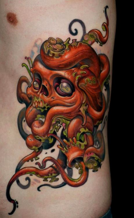 octopus skull tattoo by curtis burgess at tribal rites