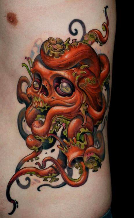 Octopus Skull Tattoo By Curtis Burgess At Tribal Rites Tattoo In