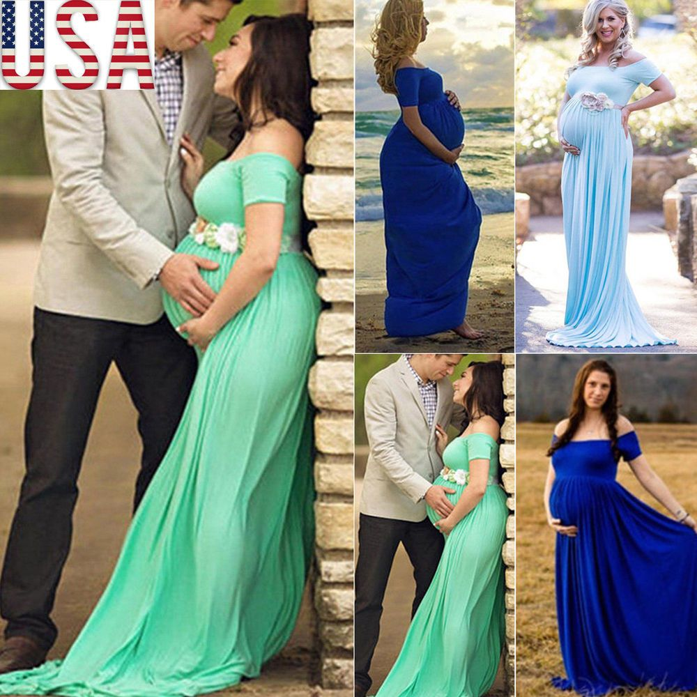 Lace dress for pregnant  US Pregnant Women Lace Maxi Long Dress Maternity Gown Photography
