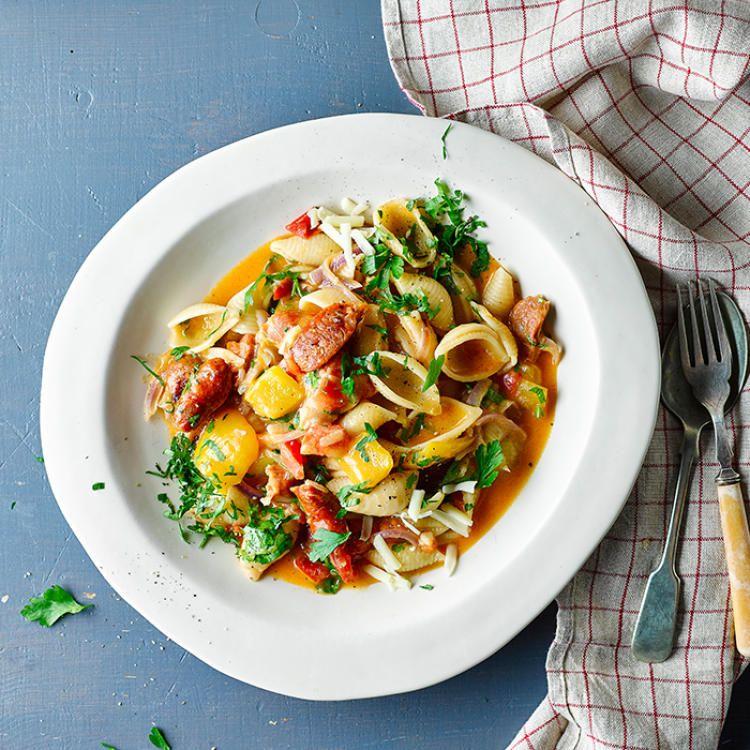 Chorizo & Yellow Pepper One Pot Pasta
