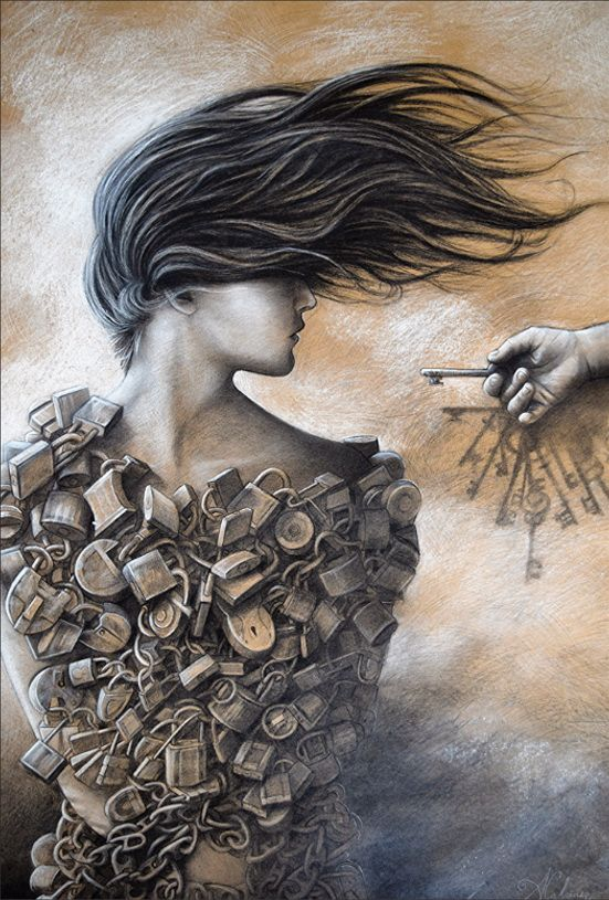 Alexander Calcines Makeichik. Woman with Locks Graffiti