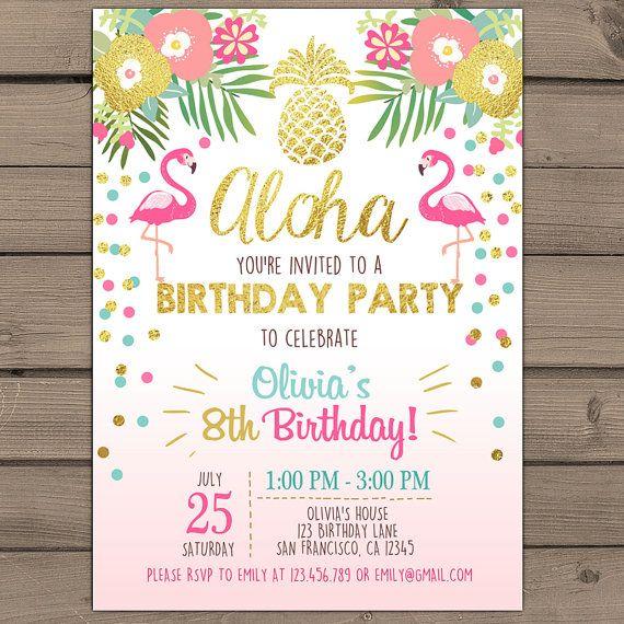 Ideias para convites - festa havaianas | Pool party