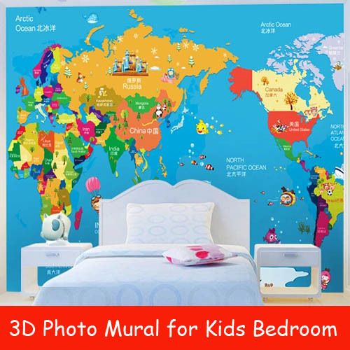 Find More Wallpapers Information About World Map D Photo Murals - Wall map children's room