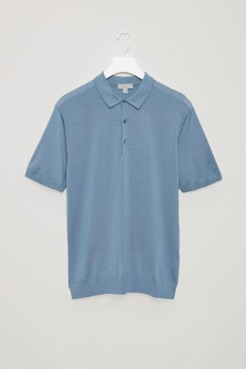 COS image 2 of Silk cotton polo shirt in Sea Blue